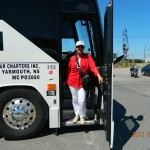 SHARON ROBART-JOHNSON GETTING OFF THE MARINER'S  TOUR BUS IN DIGBY, N.S.